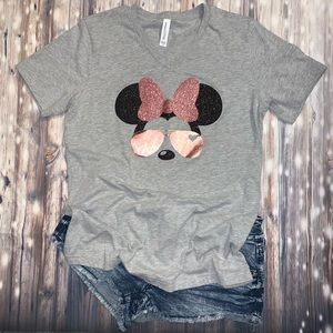 Minnie Mouse glitter rose gold t-shirt